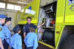 Cadets inspect the Fire Tender Equipment