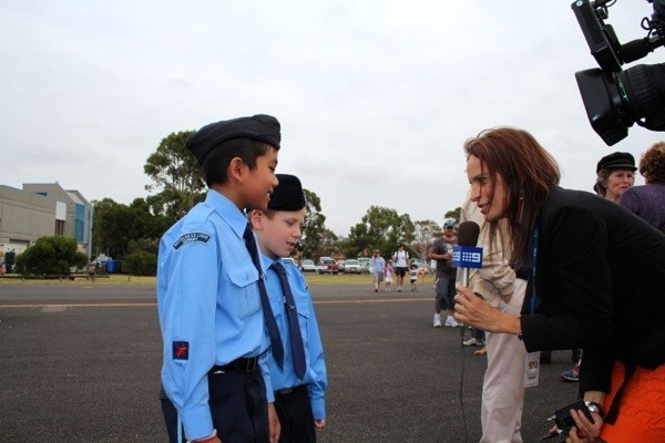 Cadets interviewed by the TV news crew