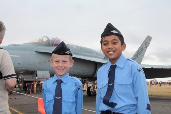 Cadet with an F/A-18 fighter