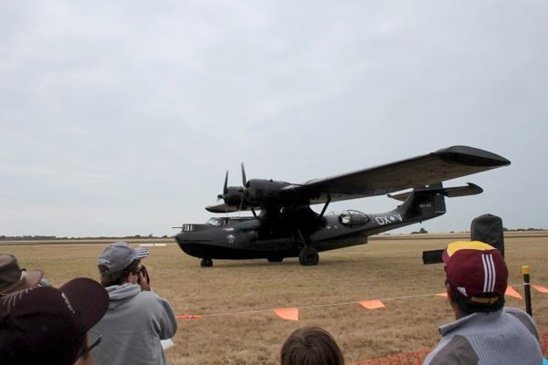 PBY Catalina warbird taxies by
