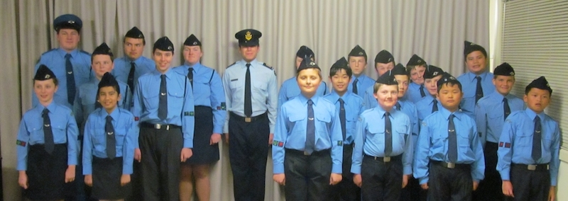 Officer Cadet Lachlan Johnston with cadets from Gawler Airfield Squadron