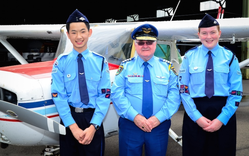 Australian Air League 2015 Cadet of the Year winners Cpl Benjamin Tam and Cpl Rebecca Newberry with Chief Comr. Ian Rickards